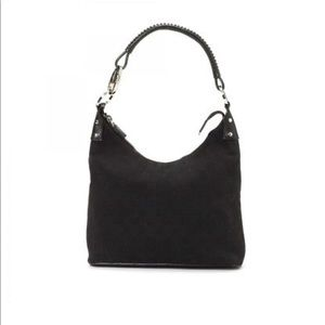 Black Gucci Canvas Leather Hobo Tote Shoulder Bag